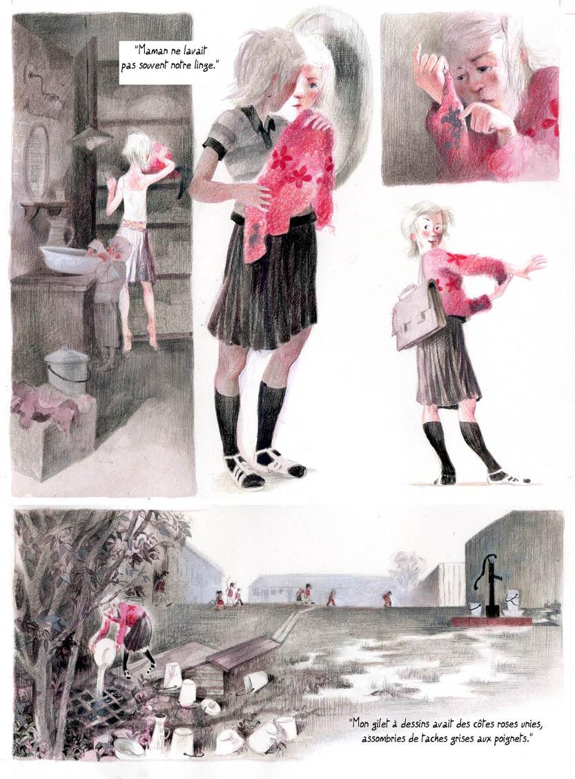 Un souvenir décole raconté en BD. Dessin à l'encre et au crayon de couleur