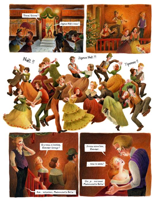 """Le fameux """"Christmas Carol"""" de Dickens adapté en BD au crayon de couleur."""