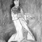 Croquis au fusain, actrice de Kabuki.