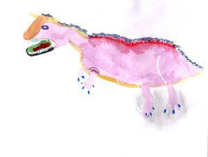 Aquarelle de carnotaurus par Valentine 13 ans