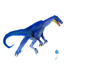 dinosaure bleu aquarelle, pastel gras, bic par Kenzo
