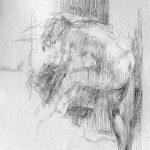 Croquis d'après une -femme à sa toilette- de Pierre Bonnard, expo au musée d'Orsay en 2015