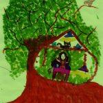 """Dessin d'arbre au feutre et encre sur papier coloré. Centre Léo Lagrange - cours """"technique du dessin"""" - Estelle Meyrand"""
