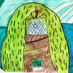 Une cabane dans un saule pleureur avec ascenseur.