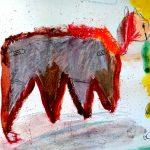 peinture d'animal fantastique au pastel gras
