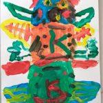 Peinture d'enfant, totem d'Indien.
